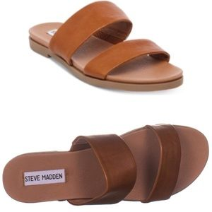 Steve Madden Judy Leather Sandals in Cognac